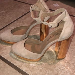 Free people suede rose gold pumps 8.5